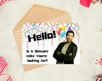 Lionel Richie, funny birthday card printable, downloadable celebrity card, dank meme gift, 18th 20th 21st 25th 30th 35th 40th 45th 50th