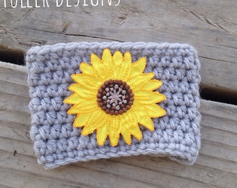 Sunflower cup cozy, sunflower cup cover, crochet sunflower, sunflower cup, cup cozy, cup cover, mug cover, sunflower mug, sunflower cup