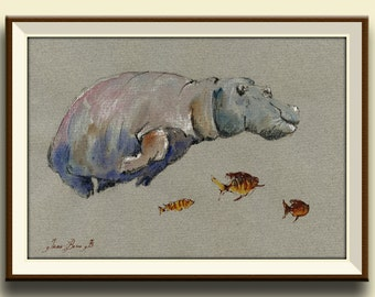 PRINT-Hippo study african trophy swimming fishes watercolor painting print fish hippo  - Art Print by Juan Bosco