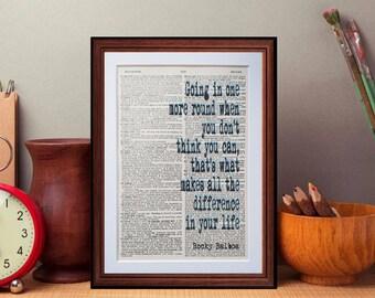 Rocky Balboa quote  - dictionary art print home decor present gift walt disney