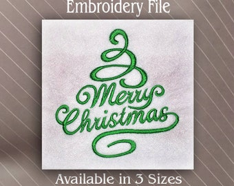Merry Christmas tree in Machine Embroidery Design File