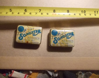 Songster gramophone needles in tins Sheffield  soft tone one full one partly full