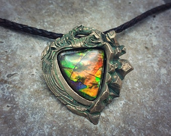 Bronze PMC and Rainbow Ammolite Necklace.