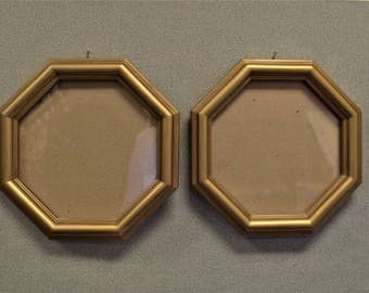 Octagon Gold Picture Frame with Glass and Backing