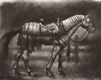 Storm Charger - horse in Renaissance medieval armor - 12 x 18 art print of a charcoal drawing - equestrian art