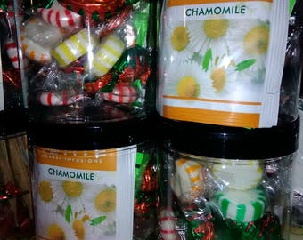 Flavored tea, assorted sugar, and candy jar party favor