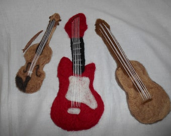 Newborn felted prop, felt instruments  guitar  violin electric guitar, felted stuffy,newborn pictures, felted instruments
