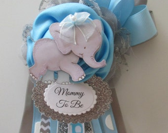 Elephant Mommy To Be Corsage, Baby BOY Baby Shower Corsage, Blue Baby Shower Corsage, Baby Girl Shower Corsage,Corsage for Baby Boy