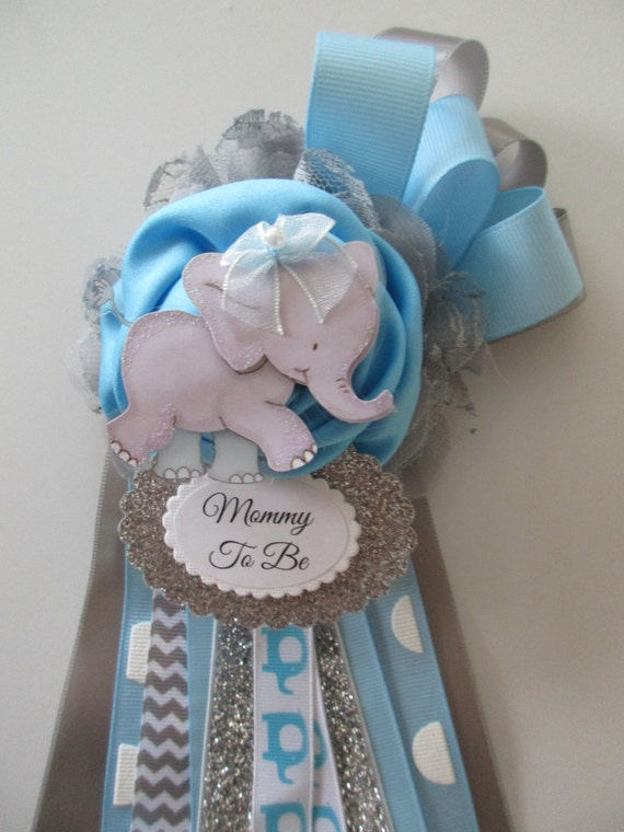 Superb Elephant Mommy To Be Corsage Baby BOY Baby Shower Corsage