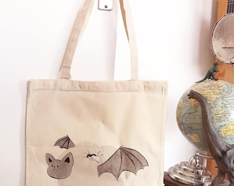 Bat-cloud Tote Bag, organic Cotton