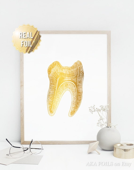 Dentist Gift Gifts for Dentist Gold Foil Print Tooth