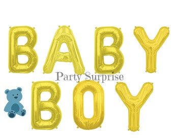 """Baby Boy Balloons Gold Letter Balloons 16"""" Baby Boy Shower New Baby Boy Balloons"""