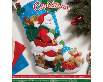 Bucilla 18-Inch Christmas Stocking Felt Applique Kit, 86656 Down The Chimney