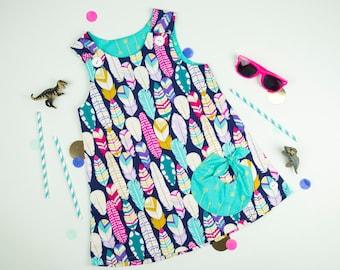 Handmade Girl's Pinafore Dress Metallic Feathers Baby Dress Summer Dress Baby Girl Outfit holiday dress Girls Dresses Girls Dress