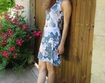 Short summer  dress with flower motifs , Mod.GABY