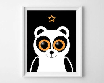 Panda illustration, panda poster to download, animal picture, children's room, baby, birth, anniversary gift gift decoration