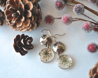 White Queen Anne's Lace Earrings, Pressed Flower Jewelry, Botanical Jewelry