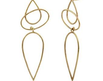 Long brass lightweight earrings