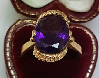 """Antique Design by """"B&F""""10k Yellow Gold  Huge Natural Amethyst  Ornate Ring"""