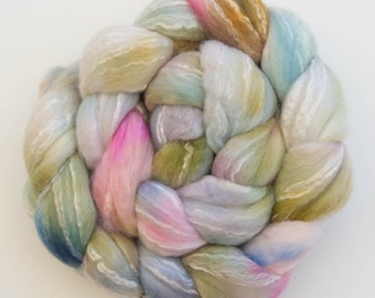 Hand dyed top, Merino, Bamboo, Spinning wool, hand spinning, felting, spindling, Hand dyed fiber, fibre, felting projects, felting materials
