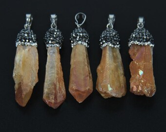 1-10pcs Titanium Champagne Quartz Raw Crystals Tusk Spike Beads Pendants Findings,Wholesale Plated Rhinestone Cap Gems Nugget Stick Necklace
