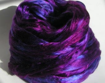 Silk Top Roving Sliver Fiber cultivated Mulberry PURPLE PASSION Phat Fiber Luxurious Supreme Quality Hand Painted for Halloween 2 ounces
