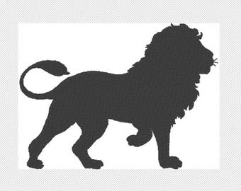 Solid Lion Embroidery Design File - multiple formats - one color design -4 sizes - instant download