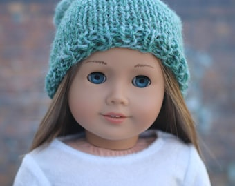 AG Doll Clothes | Hand Knitted SLOUCH HAT in Green Mix for 18 Inch Dolls such as American Girl