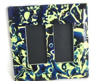 Double Slide Switch Plate Cover Polymer Clay Green and Yellow with Blue