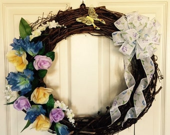 Spring Wreath. Summer Wreath. Grapevine Wreath. Nature Wreath. Floral Wreath. Decor