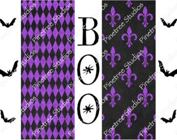 Purple Boo and Bats ~ Sublimation Artwork for Mugs / Digital Download Only