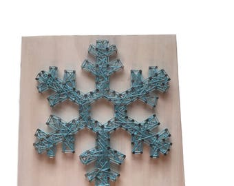 Snowflake String Art Sign - snowflake sign - Christmas decor - wooden sign - gift under 25 dollars - wall art  - wall decor