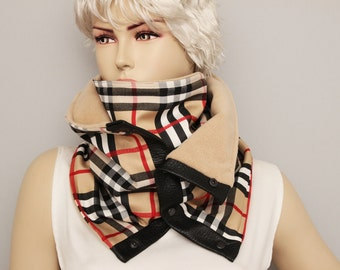 Plaid chunky circular infinity unisex scarf ,men  NECKWARMER scarf  ,men scarf, scarf  with snaps on GENUINE LEATHER