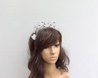 Silver Bead & Swarovski Crystal Fascinator/ Headpiece