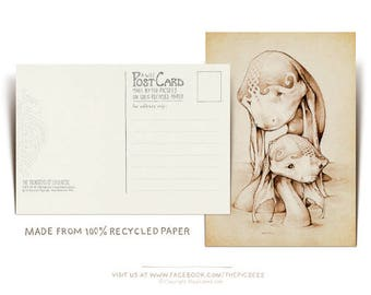 """A POSTCARD featuring our drawing of """"The Monsters of Loch Ness"""" printed on 100% recycled cardboard...by the Picsees"""