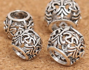 8/10mm 925 Sterling Silver Tube Beads big hole beads / Findings Antique Silver