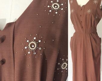 Vintage 50's Carl Naftal Original Beaded Day Dress l L