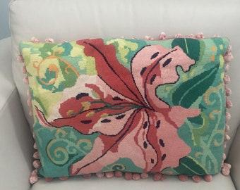 Amaryllis flower needlepoint handmade pillow