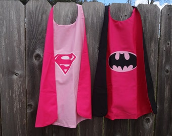 Batgirl / Supergirl Cape - Handmade and Reversible