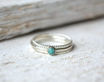 Turquoise Ring- Silver Turquoise Ring, Turquoise Ring Silver, Turquoise Gemstone Ring, Gemstone Stacking Ring, Dainty Turquoise Ring