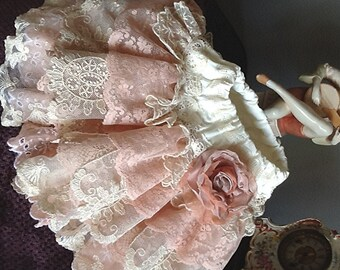 Wedding Flower girl, Vintage Lace Ruffled skirt  ivory peach pink Christmas Holiday Photoshoots, parties