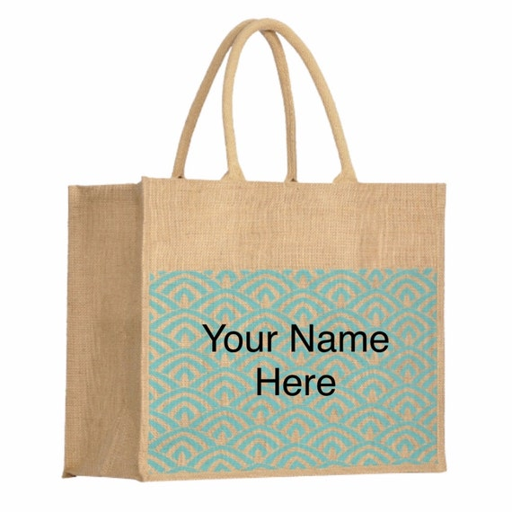 Jute Tote Bag with Turquoise Waves Accent with Personalized Embroidery