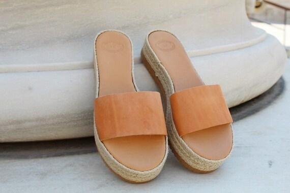 b83fb886b907 platform Leather Greek Espadrille Ancient sandals slide Natural leather  sandals Leather natural sandals sandals sandals Women ...