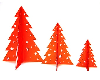 3D Christmas Tree Decorations - Festive Trees Set of 3 - Laser cut Acrylic - Hand finished - Made in England