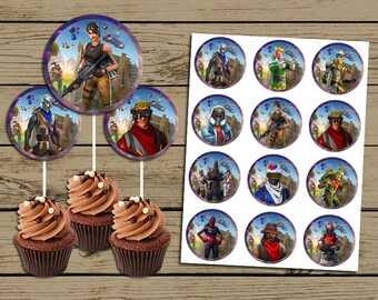 Fortnite Cupcake Topper * Fortnite Birthday Invitation * Fortnite Birthday Party Toppers * YOU PRINT * 12 Different Charachters