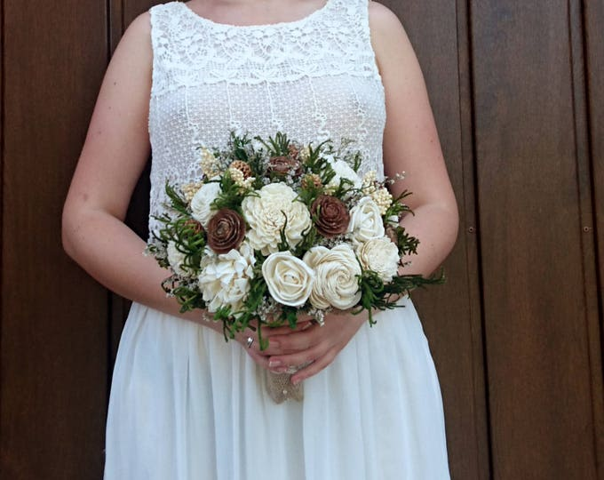Large cedar rose greenery rustic wedding BOUQUET Ivory sola Flowers preserved cypress Burlap bridal woodland natural organic eco flowers