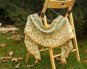 Knitted shawl, lace shawl, merino wool shawl, semi circle shawl, beige yellow blue shawl, gift for her, women accessory, hand knit scarf