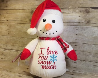 Personalized Baby Cubbie Snowman Cubbie Baby Embroidered Cubbies Stuffed Animal Personalized Stuffed Animal Baptism Gift Birth Announcement