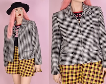 90s Black and White Houndstooth Jacket/ US 12/ 1990s
