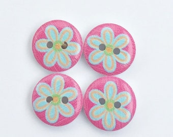Pink Modern Flower Button - Daisy Aqua Flower Button - Notions Embellishment- Scrapbook Buttons- 15 mm Button- Small Button Half Inch Button